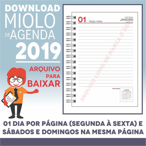 download miolo agenda 2019 | pdf e corel draw x7 | a5p12m5