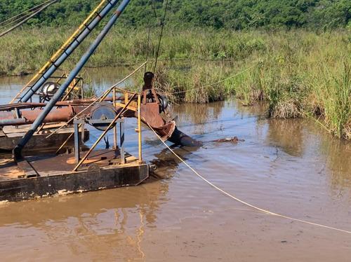 dragagem , limpeza lagoa , extração , balsa , resíduo