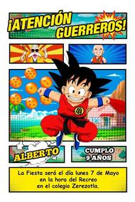 Dragon Ball Z Paquete Tarjetas Invitaciones Y Tarjetas Por