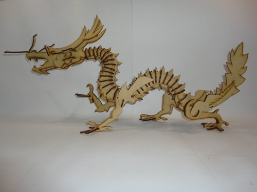dragon chino, rompecabezas 3d, hecho en madera mdf