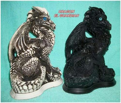 dragón de alabastro negro y blanco