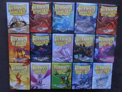 dragon shields matte sleeves magic pokemon todas as cores