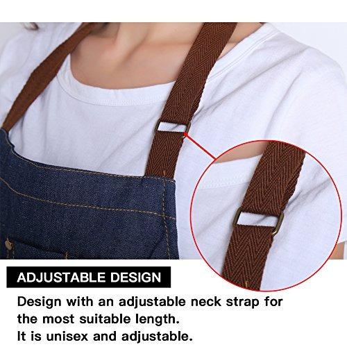 drelk delantales jeans ajustables con 3 bolsillos para mujer