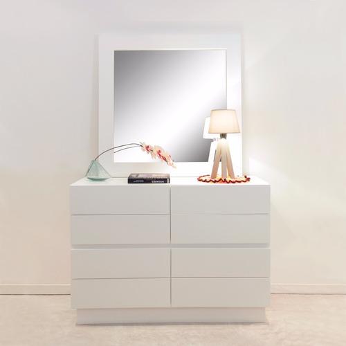 dressoir con espejo laqueada blanco forbidan muebles