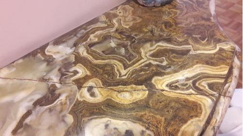 dresuar de bronce y marmol con espejo de estilo. antiguedad