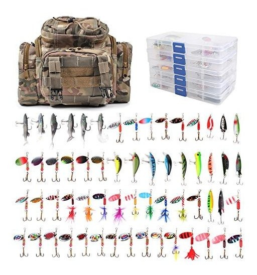 Dr.Fish Fishing Tackle Bag Loaded 5 Boxes 60 Huge Fishing Lures Kit Spoons Spinners Crankbaits Soft Plastic Shad Swimbiats Trout Bass Salmon Fishing