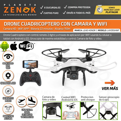 drone cuadricoptero control wifi camara foto video hd