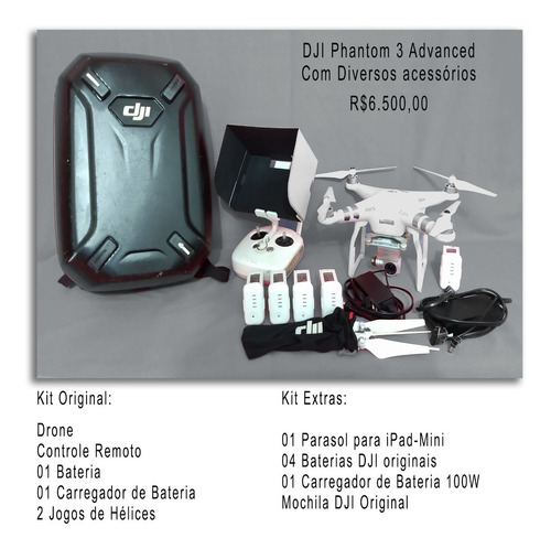 drone dji phantom 3 advanced com acessórios