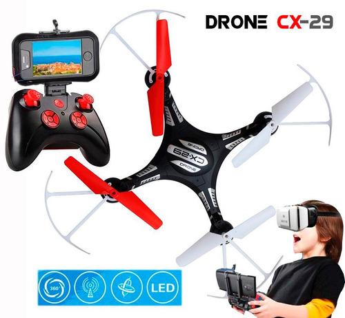 drone quadricoptero com camera fpv ao vivo cx29 vr 3d wifi