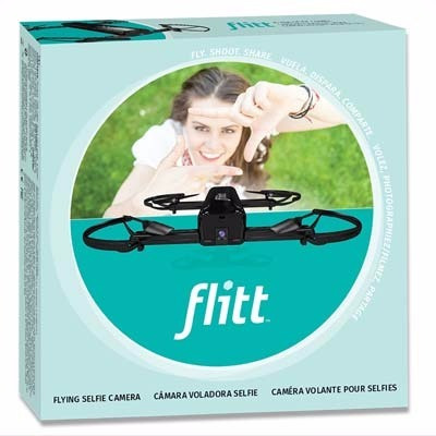 drone selfie flitt flying pocket camera w/optical flow black