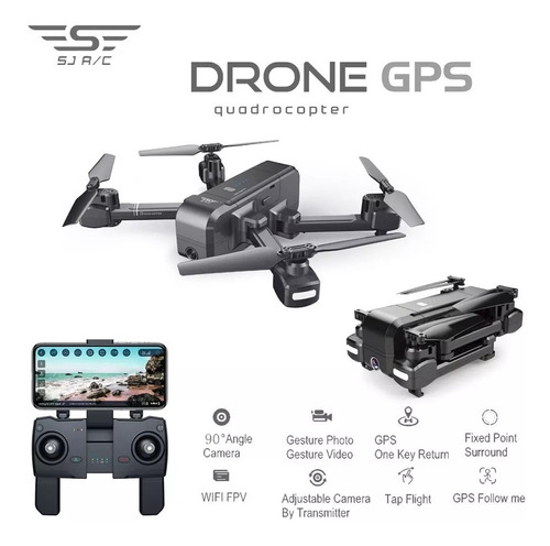 drone sjrc z5 cam 720p hd 2,4g gps gimbal 90° des r$ 100,00