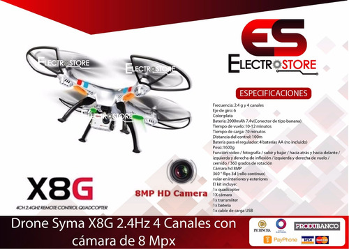 drone syma x8g camara hd 8mpx 4 canales quadcopter 2.4ghz