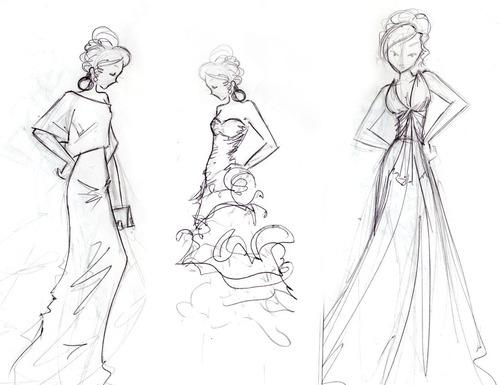 drudi paci dibujo de figurines de moda diseño de vestuario