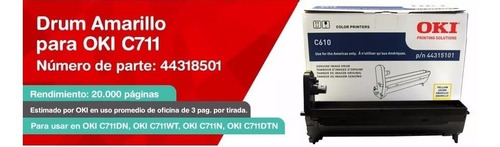 drum unit oki c711 amarillo original 44318501 tambor