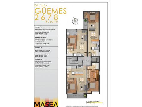 dto. 1 dormitorio al contra frente con patio 18 m2 (ascensor)  guemes 2678