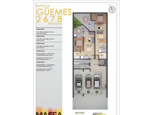 dto. 1 dormitorio al contra frente terraza exclusiva 41 m2 (ascensor)   guemes 2678