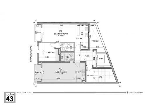 dto. 1 dormitorio amplio con balcón montevideo 400 financiación