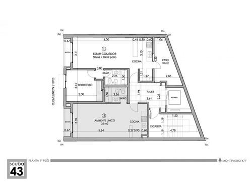 dto. mono ambiente amplio balcón montevideo 400 financiacion