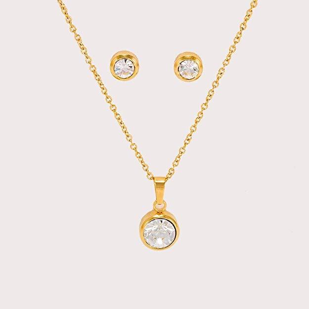 aab988c0e2fb Dtt Joyeria Juego Aretes Collar Cristal Dama Oro Lombrozo -   483.00 ...