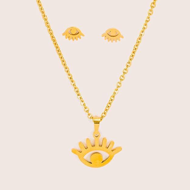 d05d9b7ea9a6 Dtt Joyeria Juego Aretes Collar Ojos Pestañas Dama Oro -   393.00 en ...