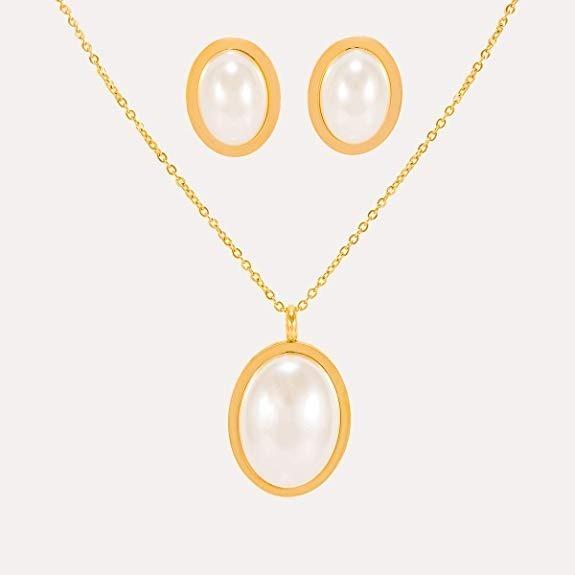 1868201cb781 Dtt Joyeria Juego Aretes Collar Perla Ovalada Dama Oro -   673.00 en ...