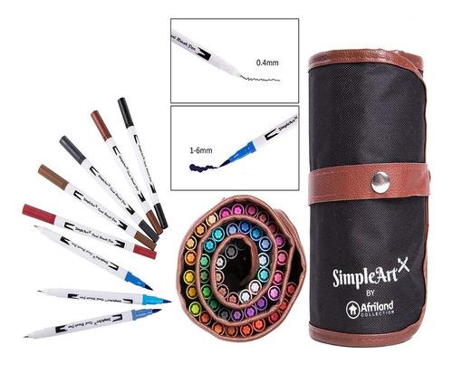 dual brush tip plumas conjunto del arte y marcadores para ad