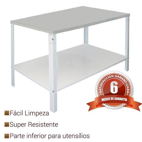 duas mesas de inox com parte inferior de 1,90x90 cm