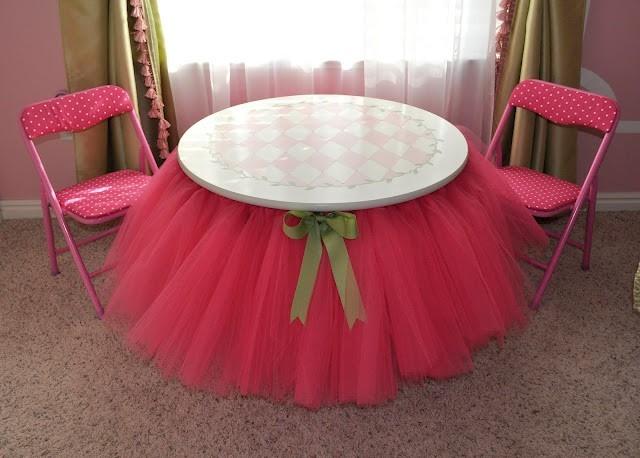 Duas saias de tule para mesa redonda promo o festa for Mesa redonda infantil
