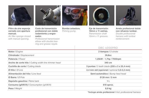 ducati desbrozadora profesional gasolina 40cc 2t dbc4000pro