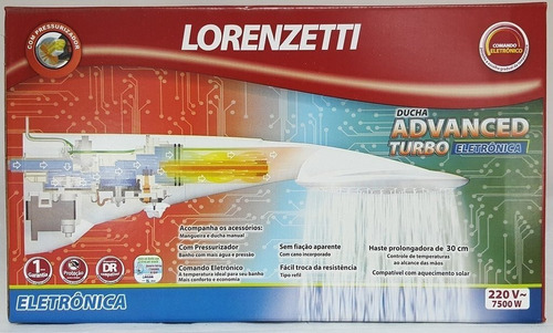 ducha advanced eletronica turbo c/ pressurizador lorenzetti