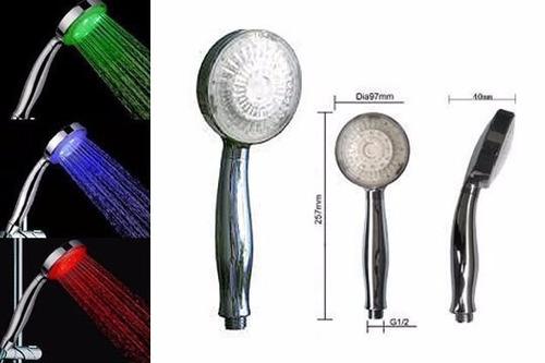 ducha alcachofa de colores led  control de temperatura