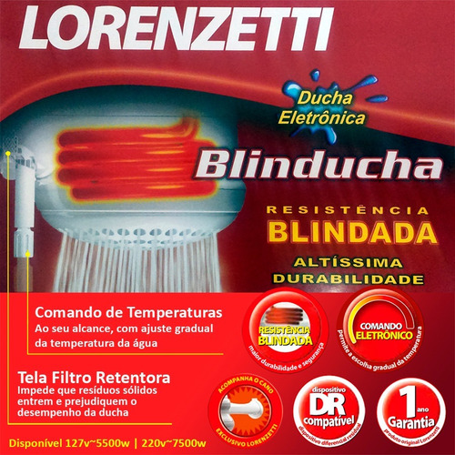 ducha blindada lorenzetti blinducha eletrônica 110v ~ 220v