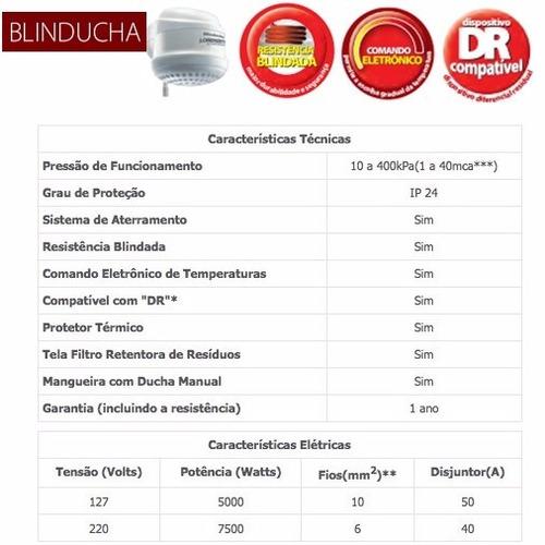 ducha blindada lorenzetti blinducha eletrônica 110v ou 220v