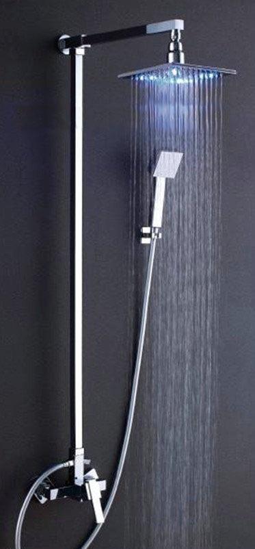 Ducha chuveiro cromado com led modelo quadrado 20x20 r for Led para ducha