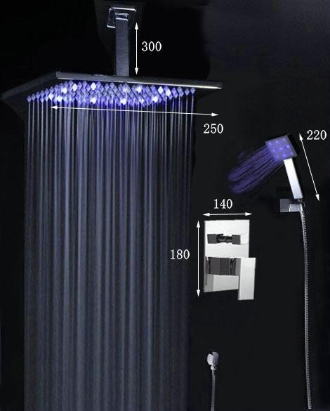 Ducha chuveiro cromado com led modelo quadrado 25x25 r for Led para ducha