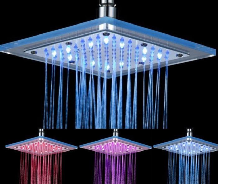 Ducha chuveiro de led em vidro cores cromoterapia for Led para ducha