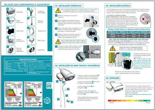 ducha chuveiro hydra spot 8t 220 volts 6800wmultitemperatura