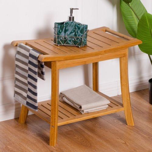 Ducha de ba o madera bamb banco silla spa heces w storage en mercado libre - Bancos de madera para banos ...