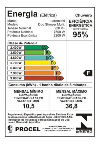ducha duo shower mult quadrada turbo 110v 5500w lorenzetti