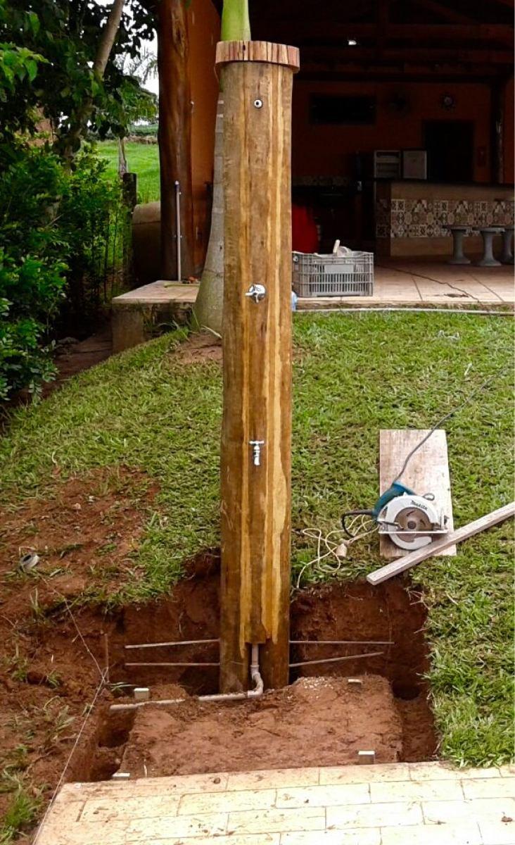Ducha externa para piscina madeira com encanamento for Duchas para piscinas carrefour