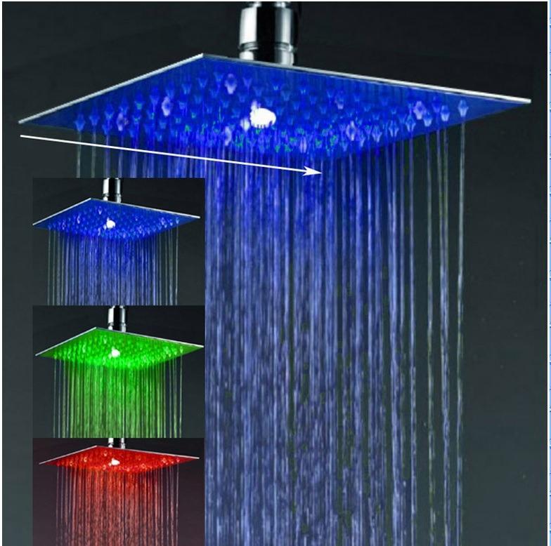 Ducha quadrada slim de 250 mm em a o inox 304 c led r for Led para ducha