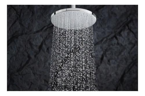 ducha, regadera anticalcarea 20cm redonda kit tubo a techo