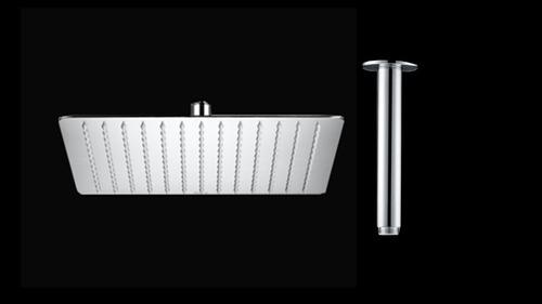 ducha, regadera cuadrada metálica, 25 cm con tubo de techo