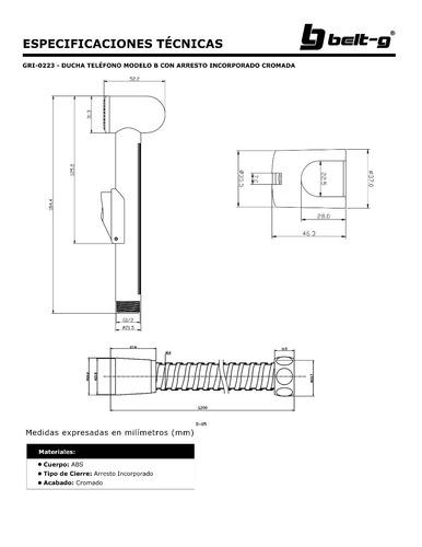 ducha telefono mod b arresto incorpora cromo belt-g gri-0223