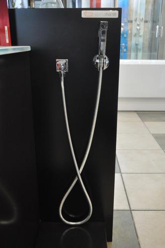duchador de bidet con llave de paso cromado soporte pared