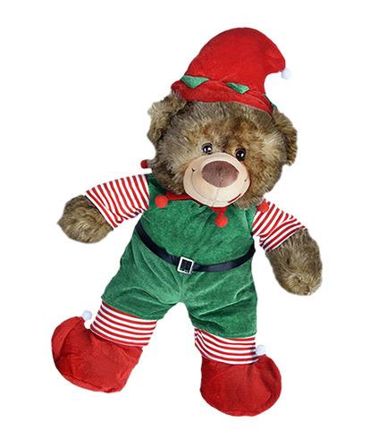 duende de la navidad con sombrero, bufanda, y botas outfi