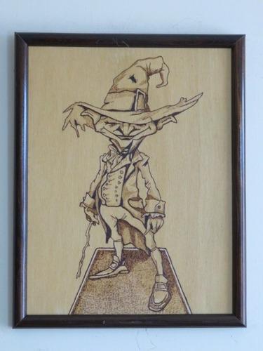 duende irlandes, cuadro pirograbado, cuadro artesanal