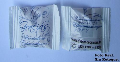 dulce de cortesia con mensaje promocional (1,000 piezas)