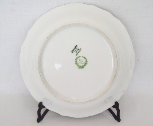 dulcera porcelana u. c. limoges retrato y frutas oro #2