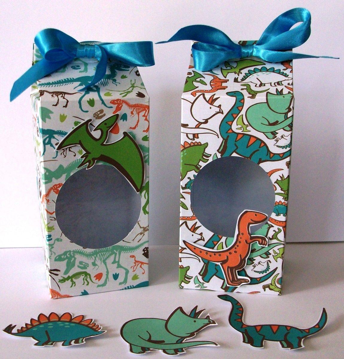 Dulcero Dinosaurios Personalizable Tipo Caja De Leche 10 Pz
